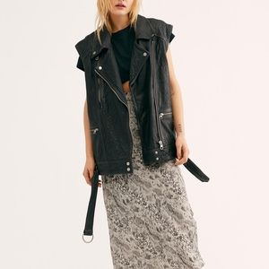 NWOT Free People • Rita Genuine Leather Vest